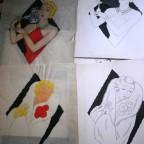 3 dessins de femme +calque  des années 20 , 22,8x 19 , G calque abimé sur les bords