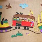 Années 50 – le petit train – Feutrine sur toile de jute – 53 x 125 VG