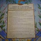 Déclaration des droits de l'homme et du citoyen sur plaque cartonné 40 x  32, G abimé