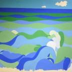 Lou Angot (fils de Mayo illustratrice des années 20), La mer  VG trace de punaise et peinture sur cote droit partize, signé LA, 32,2x 49,8