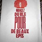 linogravure celine Thoué Mangez du blé pour de beaux epis mai 2010 signé mais impossible de lire le nom 39 x28,8 M