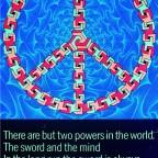 B-Peace and love symbol et citation Bonaparte, Paul Jablonka, The third eye, NYC, 1970. 82x 54