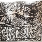 P-Live give love, Martin Sharp & Michelangelo, Big O posters, London.50,7x76