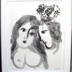 Marc Chagall,1956, encadré signé dans la planche, 68x48cm, 200€