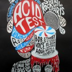 Affiche JOEY  Acid Test Poster by Joey ( Affiche ) Summer of Love 40th birthday Signed on pencil, n° 47 / 100 think, black paper 50 x 65 40 euros