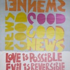 Poster Hippie - Love is possible, evil is reversible, hope is a relaity - 70's, 59x43cm, 25€